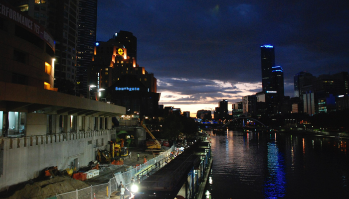 melbourne docklands at night